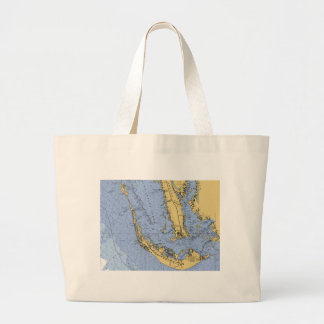Sanibel Island Florida Nautical Chart Beach Bag