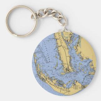 Sanibel Island Florida Nautical Chart Keychain