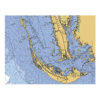Sanibel Island Florida Nautical Chart Postcard