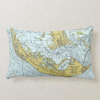 Sanibel Island Florida vintage map Lumbar Pillow