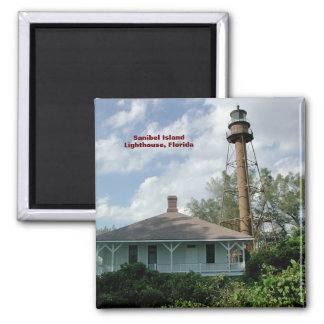 Sanibel Island Lighthouse Fl. Square Magnet