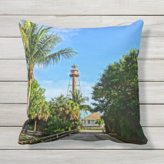 Sanibel Island Lighthouse Florida Gulf Coast Outdoor Pillow