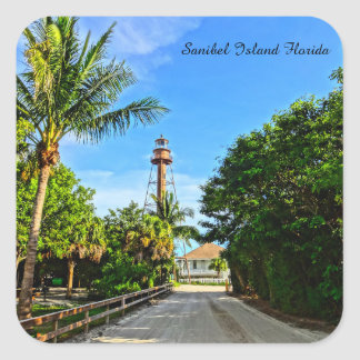 Sanibel Island Lighthouse Florida Gulf Coast Square Sticker