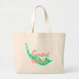 Sanibel Island map outline design Large Tote Bag