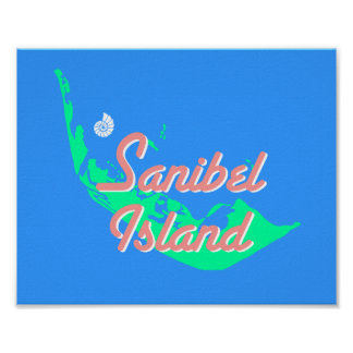Sanibel Island map outline design Poster