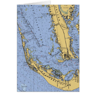 Sanibel Island  Nautical Chart Christmas Card