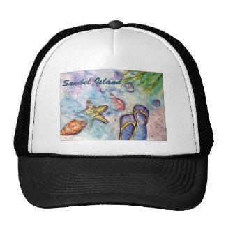 Sanibel Island Watercolor Florida Art Trucker Hats