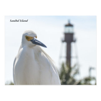 Sanibel Lighthouse and Egret postcard