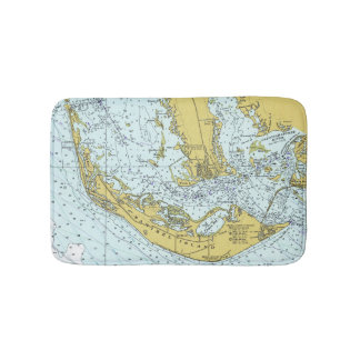 Sanibel lsland Florida nautical map Bath Mat