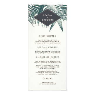 Sanibel | Vintage Tropical Wedding Menu Card Custom Rack Cards