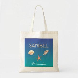 Sanibel with seashells and custom name tote bag