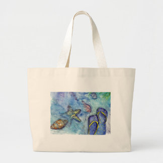 Sanidbel Sandals Watercolor Flip Flops Beach Theme Large Tote Bag