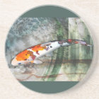 Sanke Koi in Abstract Blue & Green Pond Coaster