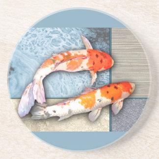 Sanke Koi Twins in Oriental Collage Pool Beverage Coaster