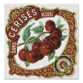 Sans l étiquette vintage d Alcool de Cerises Affiches