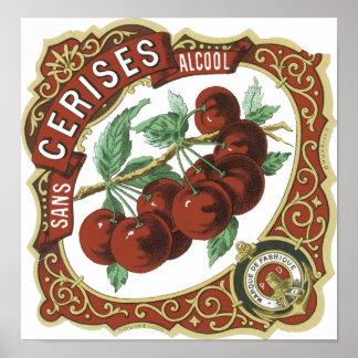 Sans l'étiquette vintage d'Alcool de Cerises Affiches