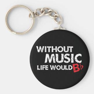 Sans vie de musique B (soyez) plat Porte-clefs