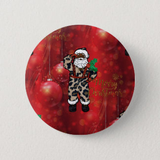 santa african leopard claus red 2 inch round button