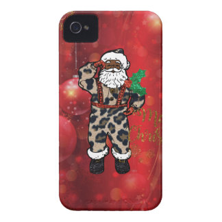 santa african leopard claus red Case-Mate iPhone 4 cases