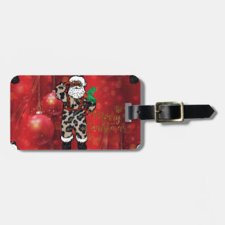 santa african leopard claus red luggage tag
