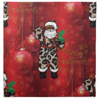 santa african leopard claus red napkin