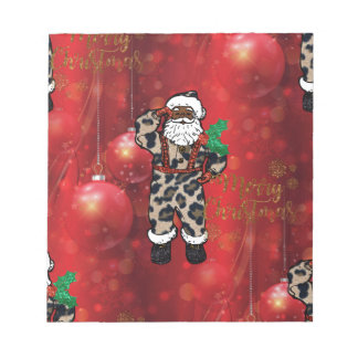 santa african leopard claus red notepad