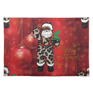 santa african leopard claus red placemat