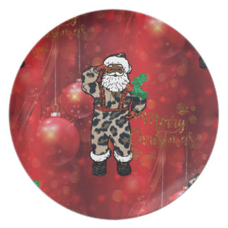 santa african leopard claus red plate
