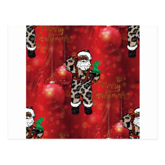 santa african leopard claus red postcard