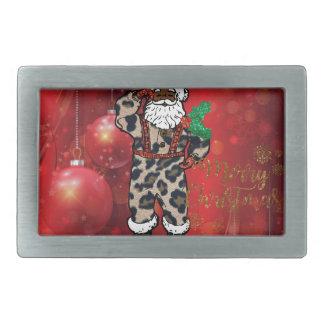 santa african leopard claus red rectangular belt buckle