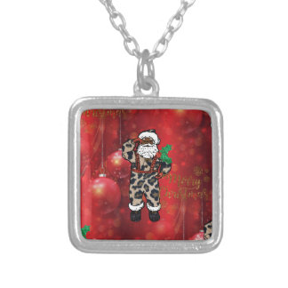 santa african leopard claus red silver plated necklace