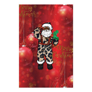 santa african leopard claus red stationery