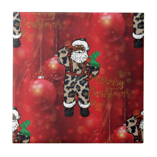 santa african leopard claus red tile