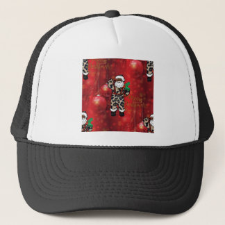 santa african leopard claus red trucker hat