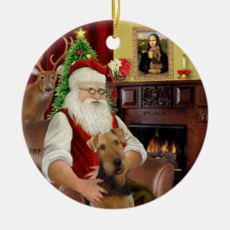 Santa-Airedale Round Ceramic Ornament