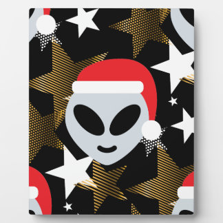 santa alien emoji plaque
