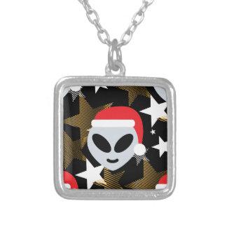 santa alien emoji silver plated necklace