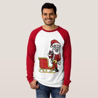 Santa all the way! Snowman behind T-Shirt