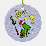 Santa Alligator with Violin Ornament