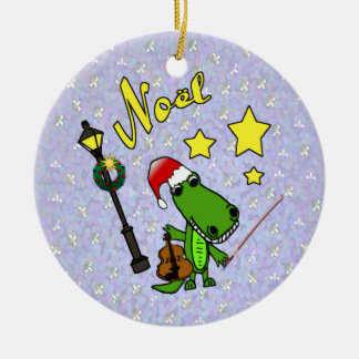 Santa Alligator with Violin Ornament