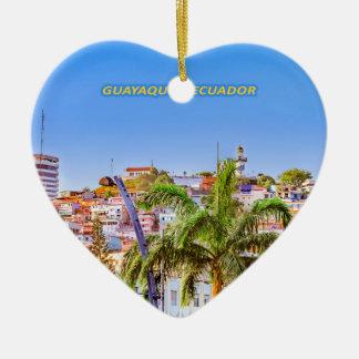 Santa Ana Hill, Guayaquil Poster Print Ceramic Heart Ornament