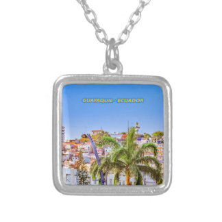 Santa Ana Hill, Guayaquil Poster Print Silver Plated Necklace