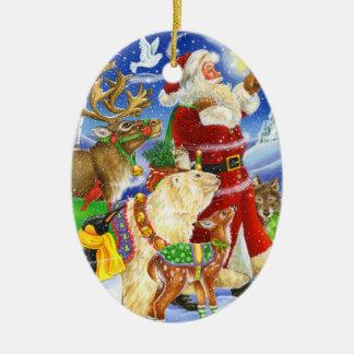Santa and Animals Ornament