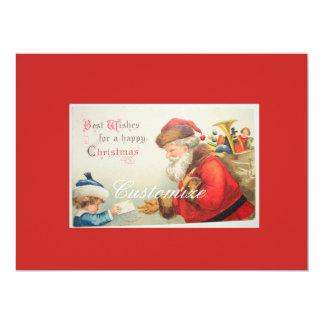 Santa and boy vintage nostalgia Christmas Card