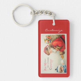 Santa and boy vintage nostalgia Christmas Keychain