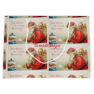 Santa and boy vintage nostalgia Christmas Large Gift Bag