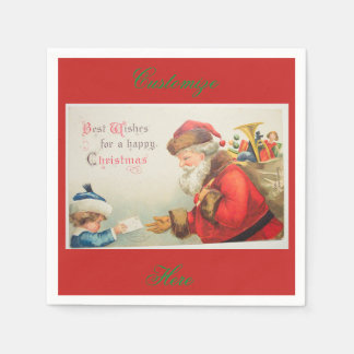 Santa and boy vintage nostalgia Christmas Paper Napkin