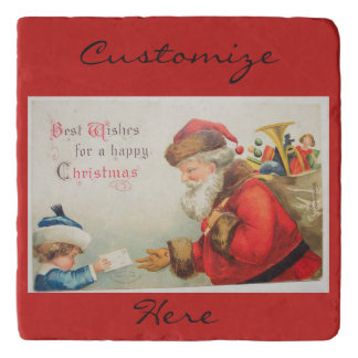 Santa and boy vintage nostalgia Christmas Trivet