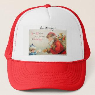 Santa and boy vintage nostalgia Christmas Trucker Hat