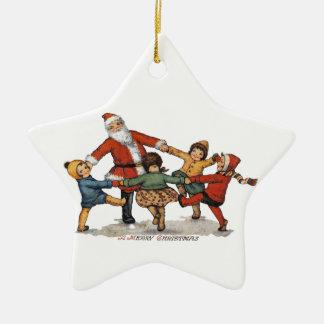 Santa and Children Ceramic Star Ornament